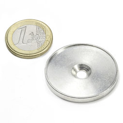 MSD-33, Metal disc with an edge and counterbore M4, Inner diameter 33 mm, as a counterpart to magnets, not a magnet!