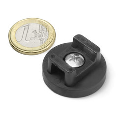 CMN-31, rubberised pot magnet, for cable mounting, Ø 31 mm