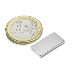 Q-20-10-02-N, Blokmagneet 20 x 10 x 2 mm, neodymium, N45, vernikkeld