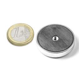 ITF-32, Magnete in ferrite con base in acciaio con filettatura interna M4, Ø 32 mm