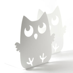 M-84/owl, Fermalibri con motivo animale, acciaio verniciato a polvere, set da 2, gufo, non magnetico!