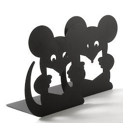 M-84/mouse, Fermalibri con motivo animale, acciaio verniciato a polvere, set da 2, topo, non magnetico!