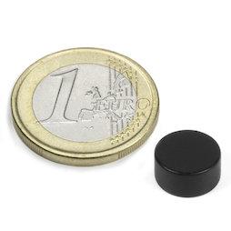 S-10-05-E/black, Kleur zwart, Schijfmagneet Ø 10 mm, hoogte 5 mm, neodymium, N42, epoxy coating