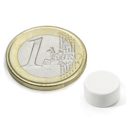 S-10-05-E/white, Disc magnet Ø 10 mm, height 5 mm, neodymium, N42, epoxy coating