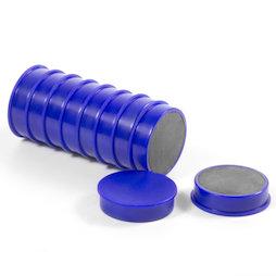 M-OF-RD30/blue, Tafelmagnete aus Ferrit, plastifiziert, 10er-Set, blau