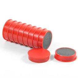 M-OF-RD30/red, Tafelmagnete aus Ferrit, plastifiziert, 10er-Set, rot