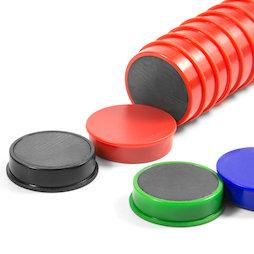M-OF-RD30, Bordmagneten van ferriet, geplastificeerd, set van 10, in verschillende kleuren