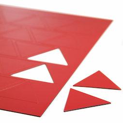 BA-014TR/red, Magnetische symbolen driehoek groot, voor whiteboards & planborden, 25 symbolen per A4-blad, rood