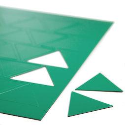 BA-014TR/green, Magnetische symbolen driehoek groot, voor whiteboards & planborden, 25 symbolen per A4-blad, groen