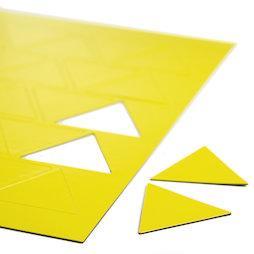 BA-014TR/yellow, Magnetische symbolen driehoek groot, voor whiteboards & planborden, 25 symbolen per A4-blad, geel