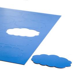 BA-014CL/blue, Nubes magnéticas, para pizarras blancas y de planificación, 10 símbolos por hoja A4, azul
