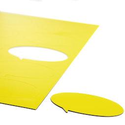 BA-014BO/yellow, Simboli magnetici fumetto ovale, per lavagne bianche & lavagne per la progettazione, 10 simboli per foglio A4, giallo