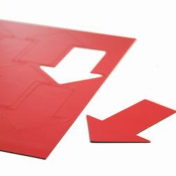 BA-014AR/red, Magnetsymbole Pfeil groß, für Whiteboards & Planungstafeln, 8 Symbole pro A4-Bogen, rot