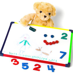 KMWB-2840, Children's whiteboard 28 x 40 cm, for drawing, playing, writing & learning, usable on both sides, magnetic