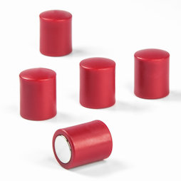 M-PC/red, Magneti per lavagna cilindrici, magneti al neodimio con cappuccio in plastica, Ø 14 mm, rosso