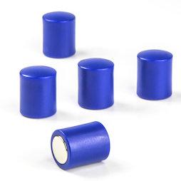 M-PC/blue, Magneti per lavagna cilindrici, magneti al neodimio con cappuccio in plastica, Ø 14 mm, blu