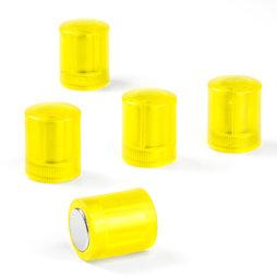 M-PC/yellowt, Magneti per lavagna cilindrici, magneti al neodimio con cappuccio in plastica, Ø 14 mm, giallo trasparente