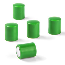 M-PC/green, Bordmagneten cilindrisch, neodymium magneten met kunststof kapje, Ø 14 mm, groen