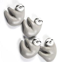 LIV-125, Bradipo, magneti decorativi a forma di bradipo, bianco-grigio, set da 4