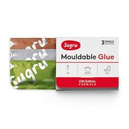 SUG-03/mixed4, Sugru, pack de 3 uds., pegamento moldeable, 1x verde, 1x marrón, 1x gris, paquetes de 5 g