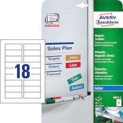 MIP-A4-03/90, Cartellini magnetici Avery J8871-5, 90 etichette magnetiche su 5 fogli A4, etichette in formato 78 x 28 mm, per etichettare scaffali metallici, lavagne bianche ecc.