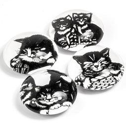LIV-139, Chatons, aimants décoratifs avec motif chat, lot de 4