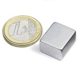 Q-18-15-10-Z, Block magnet 18 x 15 x 10 mm, neodymium, N45, zinc-plated