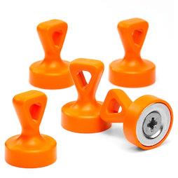 M-OF-P17/orange, Griffmagnete mit Öse, starke Büromagnete Neodym, plastifiziert, orange