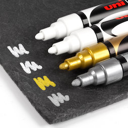 BA-021/mixed3, Rotuladores de tiza, para pizarras magnéticas de cristal y pizarras blancas, 2 blancos, 1 plateado y 1 dorado, 4 uds.