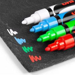 BA-021/mixed1, Rotuladores de tiza, para pizarras magnéticas de cristal y pizarras blancas, 1 blanco, 1 verde, 1 rojo, 1 azul claro, 4 uds.