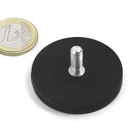 GTNG-43, rubberised pot magnet with threaded peg, Ø 43 mm, thread M4