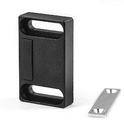 M-FURN-04/frontal, Magnetbeschlag breit für Möbel, aus Metall, mit Gegenplatte, Haftfläche frontal