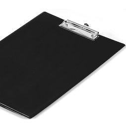 WS-WSF-03, Portapapeles negro, revestido con una lámina y compartimento transparente, formato A4, ¡no es magnético!