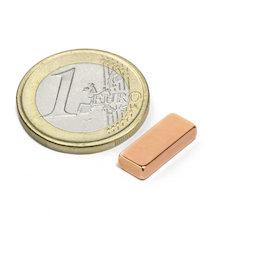 SALE-125, Parallélépipède magnétique 15 x 6 x 3 mm, néodyme, N40, cuivré