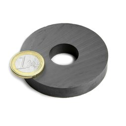 FE-R-60-20-10, Ring magnet Ø 60/20 mm, height 10 mm, ferrite, Y35, no coating
