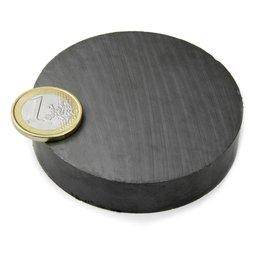 FE-S-70-15, Disco magnetico Ø 70 mm, altezza 15 mm, ferrite, Y35, senza rivestimento