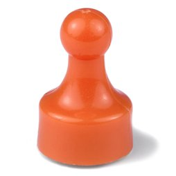 M-PIN/orange, Magneetpins 'Player', prikbordmagneten in de vorm van een speelfiguur, set van 10, oranje