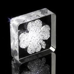 LIV-39, Lucky Diamond, koelkastmagneet klavertje-vier, met Swarovski-kristallen