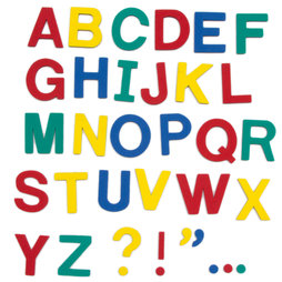 M-38/cap, Magnetic letters, approx. 100 letters & punctuation marks, made of EVA foam, 4 assorted colours
