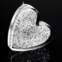 LIV-55, Glitter Heart, strong fridge magnet, with Swarovski crystals