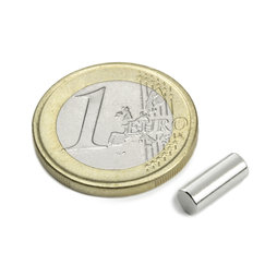 S-04-10-AN, Rod magnet Ø 4 mm, height 10 mm, neodymium, N45, nickel-plated