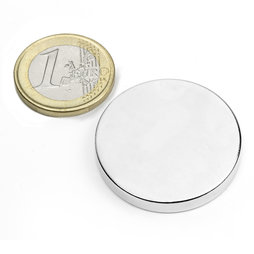S-35-05-N, Disc magnet Ø 35 mm, height 5 mm, neodymium, N42, nickel-plated