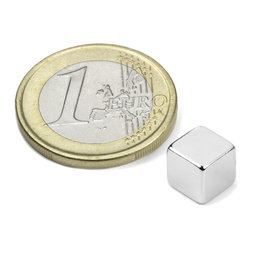 W-07-N, Cube magnet 7 mm, neodymium, N42, nickel-plated