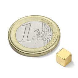 W-05-G, Cube magnet 5 mm, neodymium, N42, gold-plated