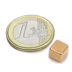 W-07-K, Cube magnet 7 mm, neodymium, N42, copper-plated