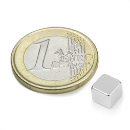 W-06-N, Cube magnet 6 mm, neodymium, N42, nickel-plated