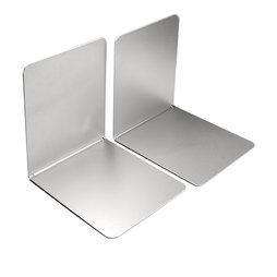 M-BOOK/silver, Fermalibri magnetici, in metallo, set da 2, color argento
