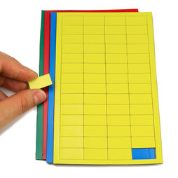 BA-012R, Magnetic symbols Rectangle small, for whiteboards & planning boards, 56 symbols per sheet, in different colours