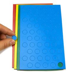 BA-012C, Círculos magnéticos pequeños, para pizarras blancas y de planificación, 50 símbolos por hoja, en diferentes colores