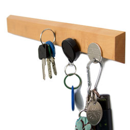 FO-3, Pannello portachiavi magnetico 32 cm, barra magnetica, in legno di pero, per 6 chiavi